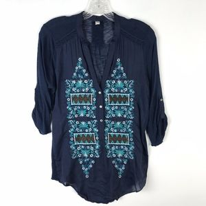 Tiny Anthropologie Embroidered Popover Top #1626